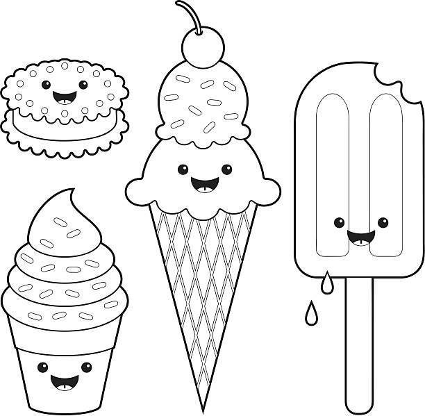 Ice cream fun kawaii coloring set vector art illustration