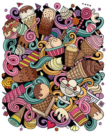 Ice Cream hand drawn vector doodles illustration.