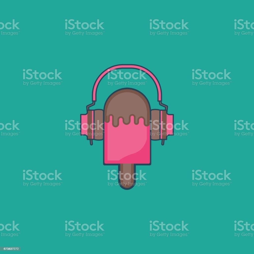 ice cream headset vector art illustration