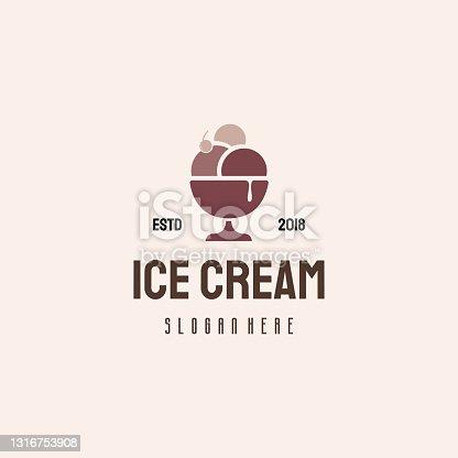 istock Ice Cream  hipster retro vintage vector template, Sweet Food 1316753908