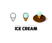 Ice cream icon, vector symbol in flat, outline and isometric style