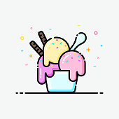 Ice cream icon in flat line style. Ice cream sundae cup pastel color for social media banner, summer poster and app icon design.