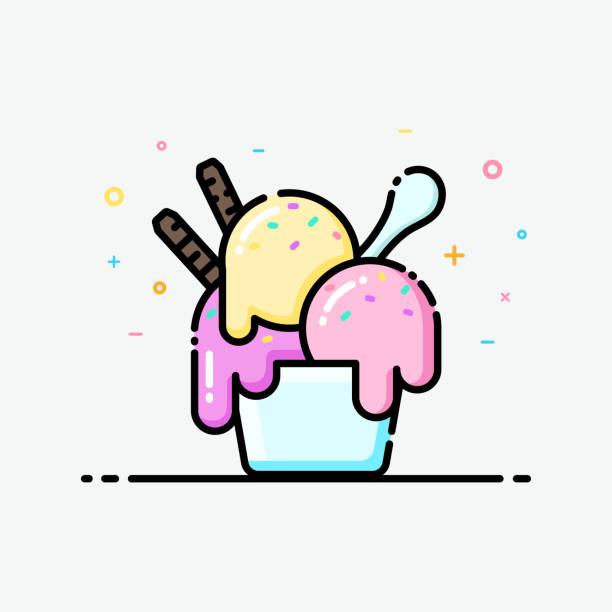 Ice cream icon in flat line style. Ice cream icon in flat line style. Ice cream sundae cup pastel color for social media banner, summer poster and app icon design. ice cream sundae stock illustrations
