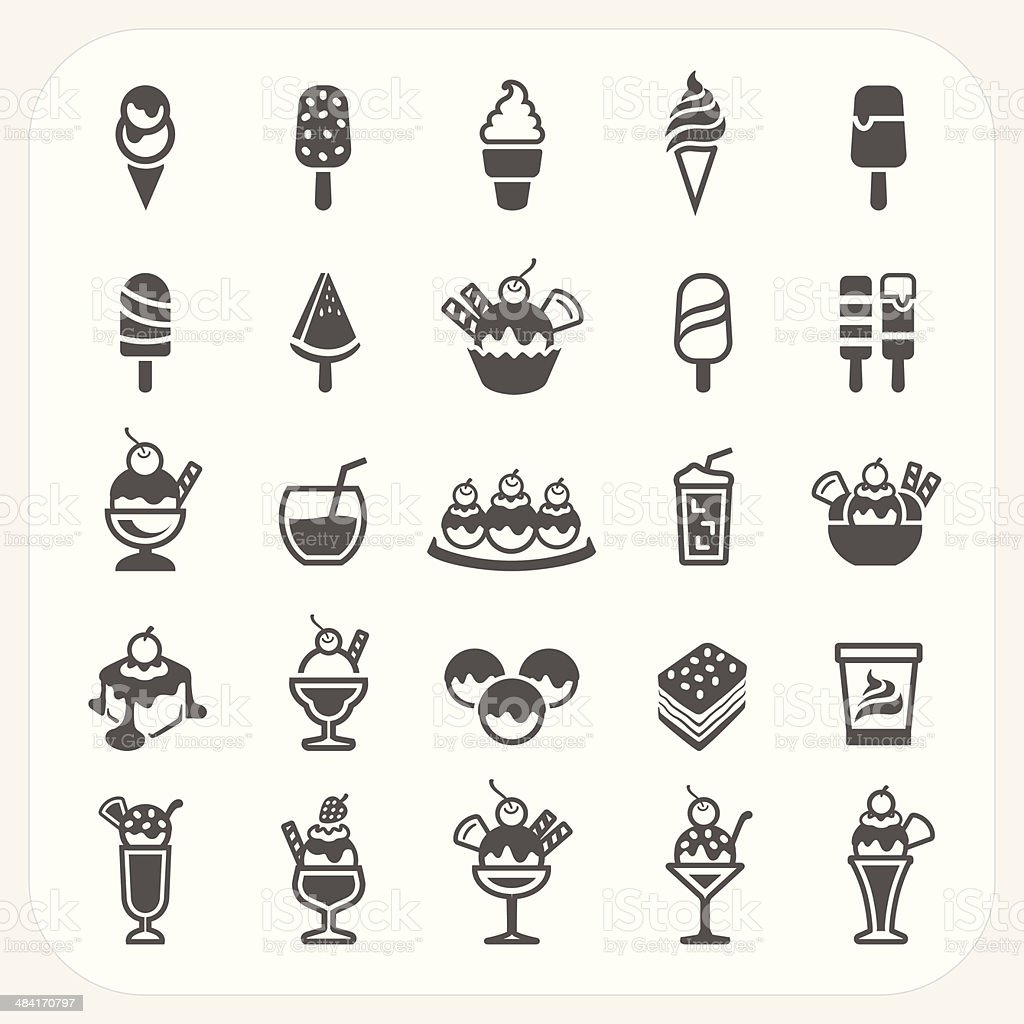 Ice cream icons set vector art illustration