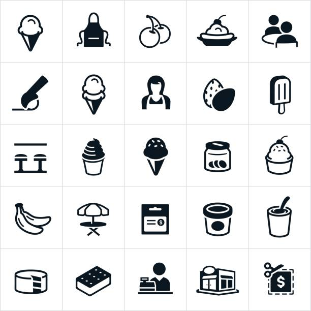 Ice Cream Icons Ice cream icons specifically relating to ice cream shops. The icons include ice cream, ice cream cones, ice cream toppings, banana split, ice cream scoop, ice cream shop, ice cream sandwich and ice cream cake to name a few. ice cream sundae stock illustrations