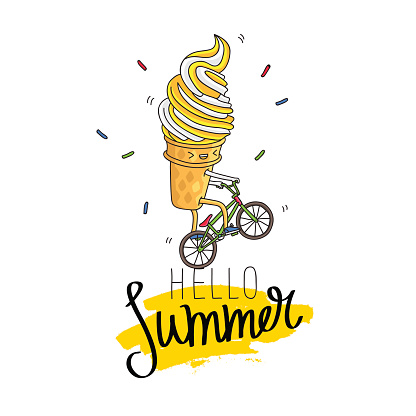 Ice cream in a waffle cup rides a bicycle