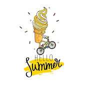 Ice cream in a waffle cup rides a bicycle. The inscription hello summer on a smear of yellow ink. Vector illustration on white background. Excellent print on a T-shirt. Fashionable calligraphy.