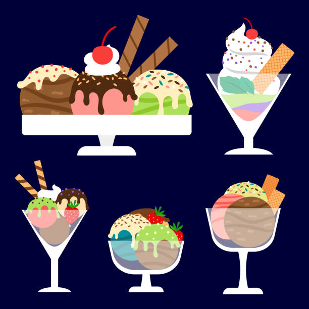Ice cream in bowls set Ice cream in the glass bowls. Dessert vector set bowl of ice cream stock illustrations