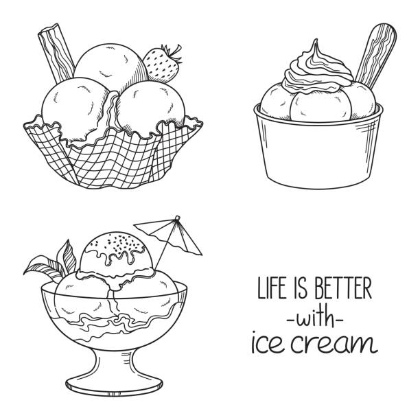 Ice cream in bowls set Set of hand drawn ice cream served in glass, waffle and paper bowls bowl of ice cream stock illustrations