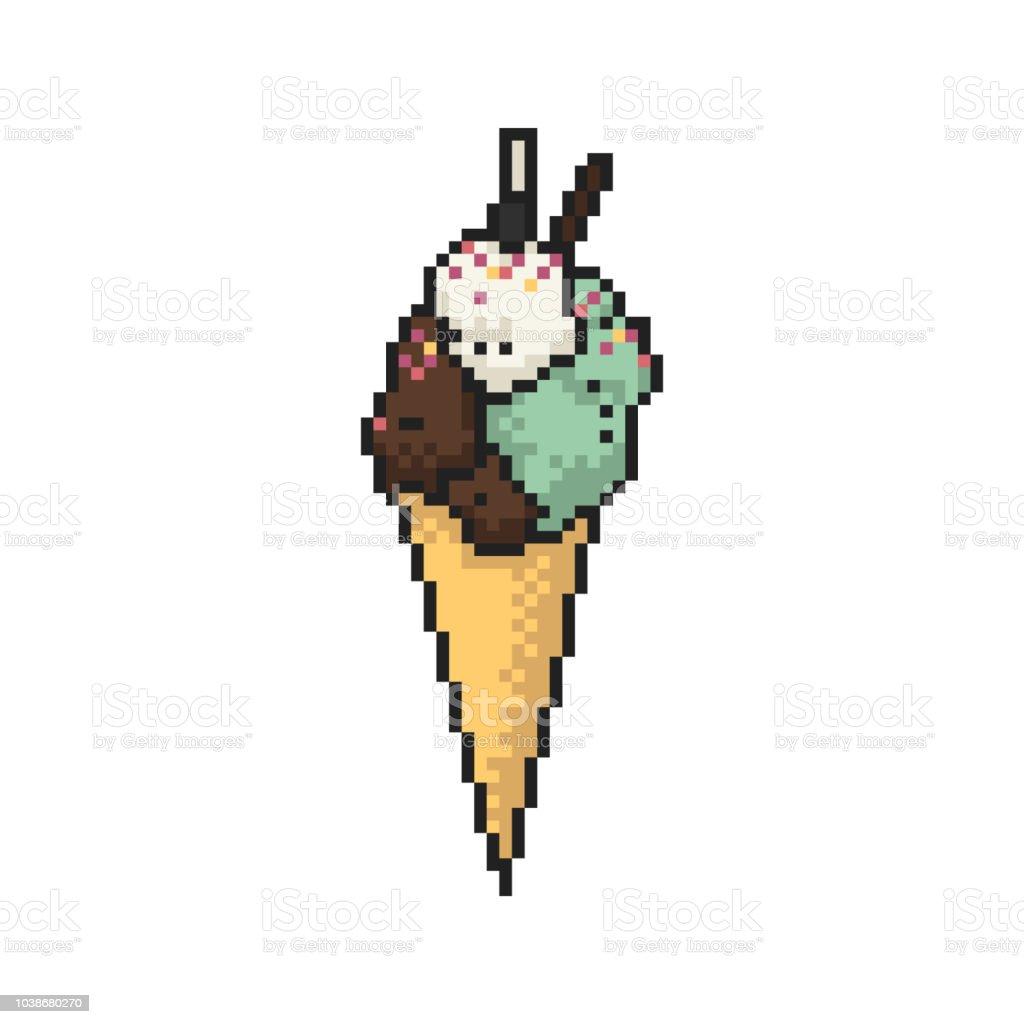 Crème Glacée En Cône Pixel Art Sur Fond Blanc Illustration