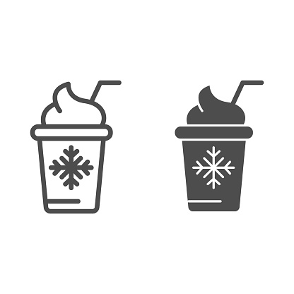 Ice cream in paper cup line and glyph icon. Frozen yogurt vector illustration isolated on white. Dessert outline style design, designed for web and app. Eps 10.