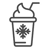 Ice cream in paper cup line icon. Frozen yogurt vector illustration isolated on white. Dessert outline style design, designed for web and app. Eps 10