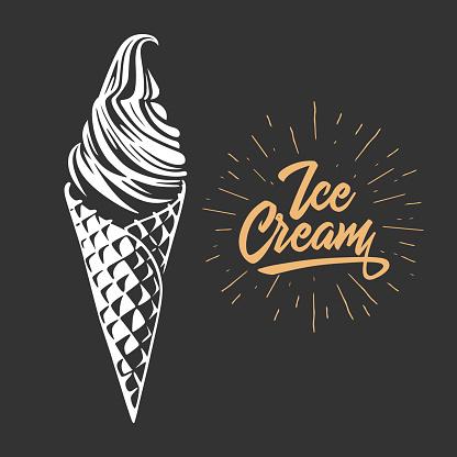 Ice cream in the waffle cone.