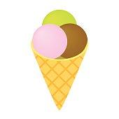 Ice cream isometric 3d icon isolated on white background