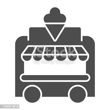 Ice Cream Kiosk solid icon, Amusement park concept, Mobile store sign on white background, Ice cream cart icon in glyph style for mobile concept and web design. Vector graphics