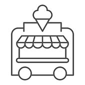 Ice Cream Kiosk thin line icon, Amusement park concept, Mobile store sign on white background, Ice cream cart icon in outline style for mobile concept and web design. Vector graphics