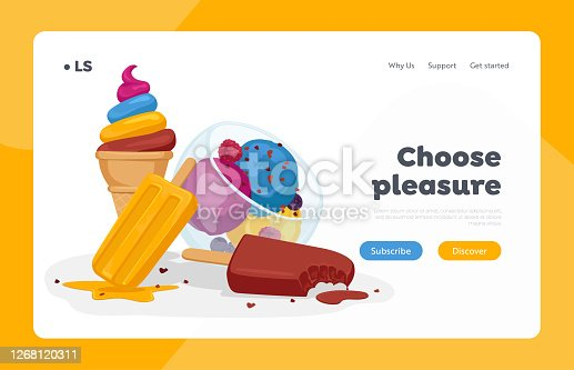 Ice Cream Landing Page Template. Sweet Dessert in Glass Cup, Sundae Scoop Balls with Sprinkles, Chocolate Popsicle, Fruit Frozen Meal on Stick Waffle Cone Icecream Dessert. Cartoon Vector Illustration
