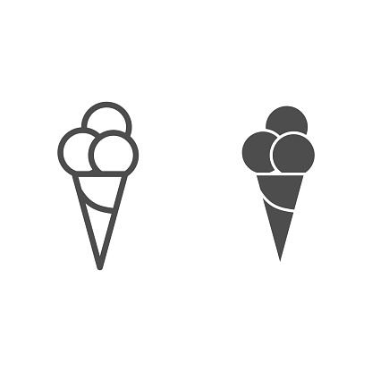 Ice cream line and solid icon, Summer concept, three ice cream balls in cone waffle sign on white background, Ice-cream icon in outline style for mobile concept and web design. Vector graphics.