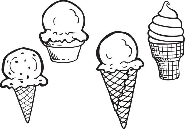Line Art Ice Cream : Royalty free ice cream cone clip art vector images