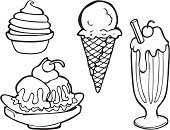 Black and white line art of various types of ice cream including hard ice cream in a cone, a shake, soft ice cream,a banana split sundae, and a soft ice cream or sorbet. Also available in full color.