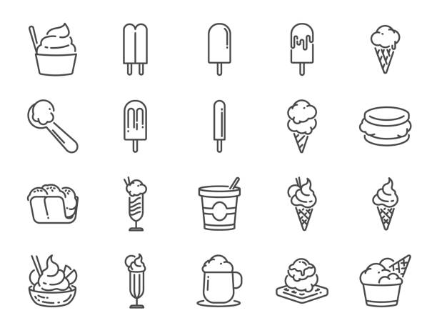 Ice cream line icon set. Included icons as sweet, cool, frozen, soft cream, flavor, dairy and more. Ice cream line icon set. Included icons as sweet, cool, frozen, soft cream, flavor, dairy and more. ice cream sundae stock illustrations