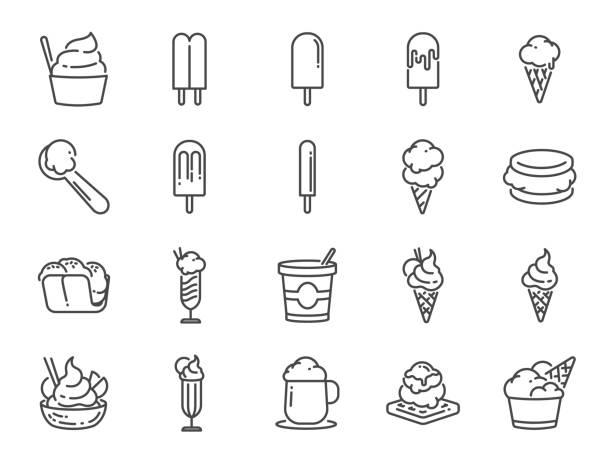 아이스크림 라인 아이콘 세트입니다. 달콤한, 시원한, 냉동, 소프트 크림, 맛, 유제품 등으로 아이콘을 포함. - ice cream stock illustrations