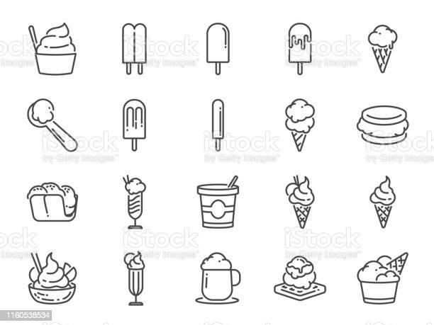 Ice Cream Lijn Icon Set Opgenomen Iconen Als Sweet Cool Bevroren Zachte Room Smaak Zuivel En Nog Veel Meer Stockvectorkunst en meer beelden van Aardbei