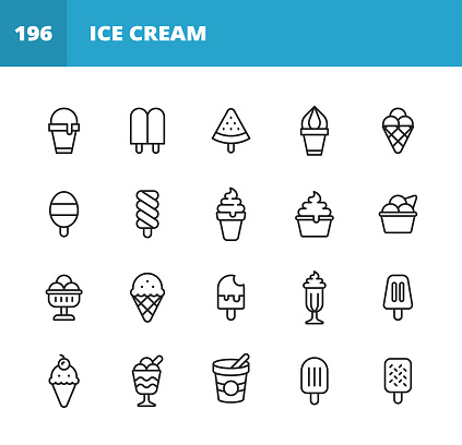 Ice Cream Line Icons. Editable Stroke. Pixel Perfect. For Mobile and Web. Contains such icons as Ice Cream, Cone, Frozen Food, Summer, Vanilla Ice Cream, Chocolate, Cup, Snack, Dessert, Fruit, Dairy Product, Sweet Food, Milk, Waffle, Watermelon, Sorbet.