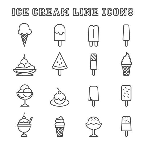 ice cream line icons ice cream line icons, mono vector symbols ice cream sundae stock illustrations