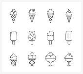 Set of ice cream line icons, vector eps10 illustration