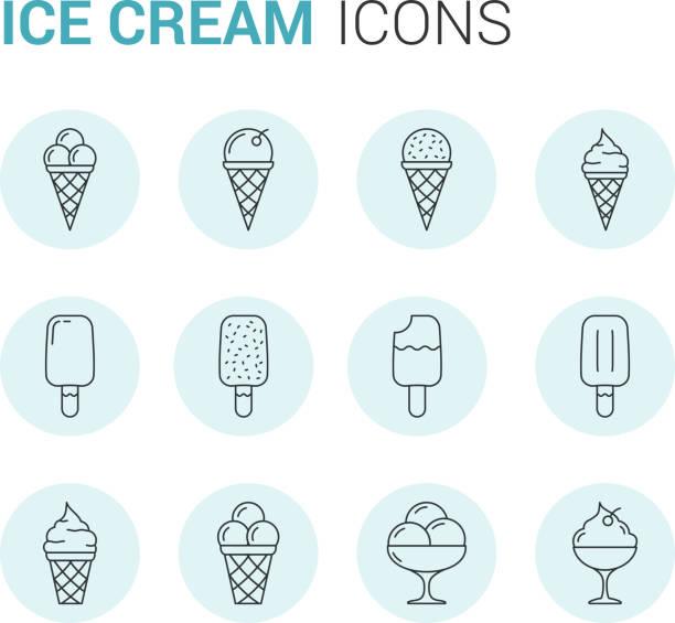 ilustraciones, imágenes clip art, dibujos animados e iconos de stock de iconos de línea de helados - ice cream cone