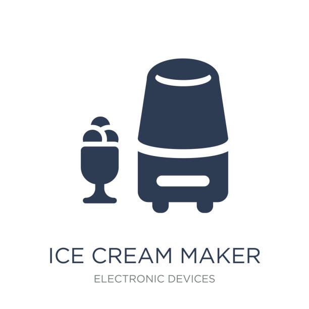 ice cream maker symbol. trendige wohnung vektor ice cream maker symbol auf - speiseeismaschine stock-grafiken, -clipart, -cartoons und -symbole