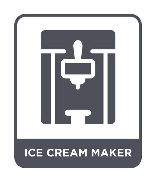 ice cream maker symbol vektor auf weißem hintergrund, gefüllt ice cream maker trendige ikonen aus der sammlung von elektronischen geräten - speiseeismaschine stock-grafiken, -clipart, -cartoons und -symbole
