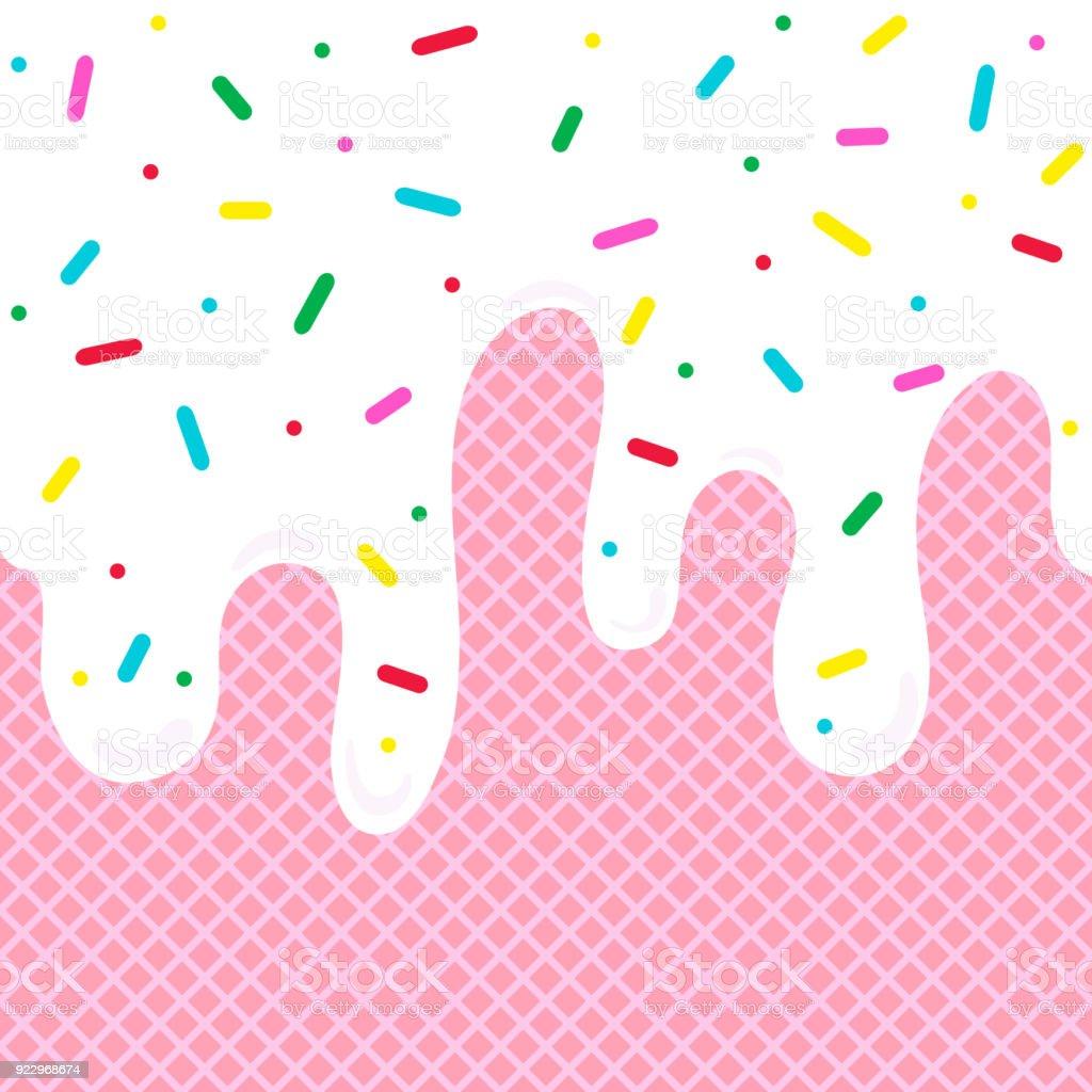 Icecream Cone Cupcake Wallpapers Mobile Pics: Ilustración De Fondo De Helado Derretido Con Barquillo O