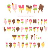 Ice cream melted font. Popsicle colorful letters and numbers can be used for summer design. Isolated on white.