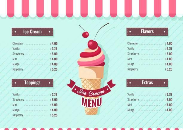 ilustrações de stock, clip art, desenhos animados e ícones de ice cream menu poster. - ice cream