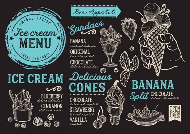 아이스크림 메뉴 레스토랑, 디저트 식품 서식 파일입니다. - ice cream stock illustrations