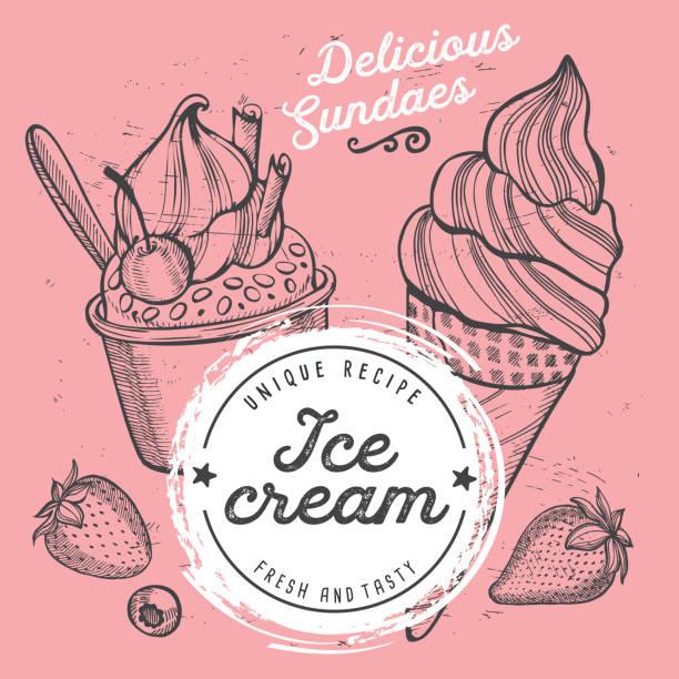 アイス クリーム メニュー レストラン、デザート食品テンプレート。 ベクターアートイラスト