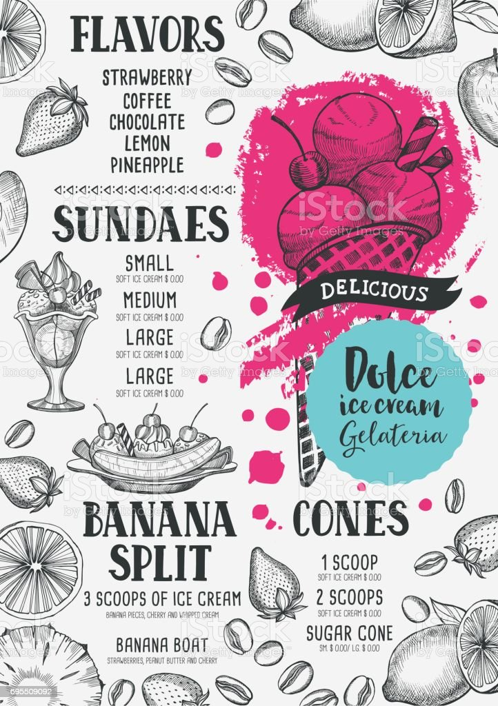 Ice Cream Menu Template For Restaurant And Cafe Stock Vector Art ...