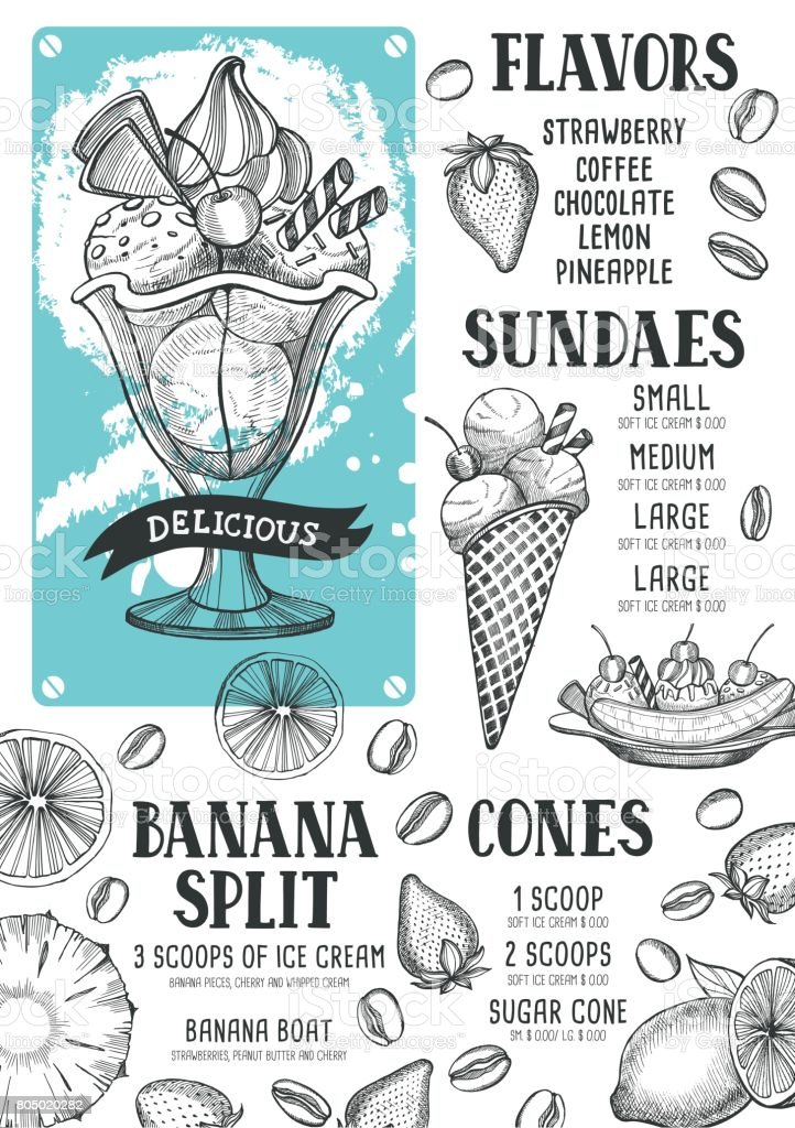 Ice cream menu template for restaurant and cafe. vector art illustration