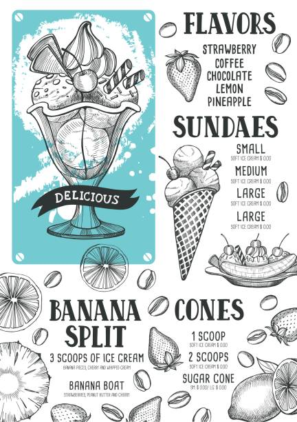 レストラン、カフェのアイス クリーム メニュー テンプレートです。 ベクターアートイラスト