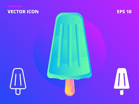 Ice cream minty cone on a stick vector