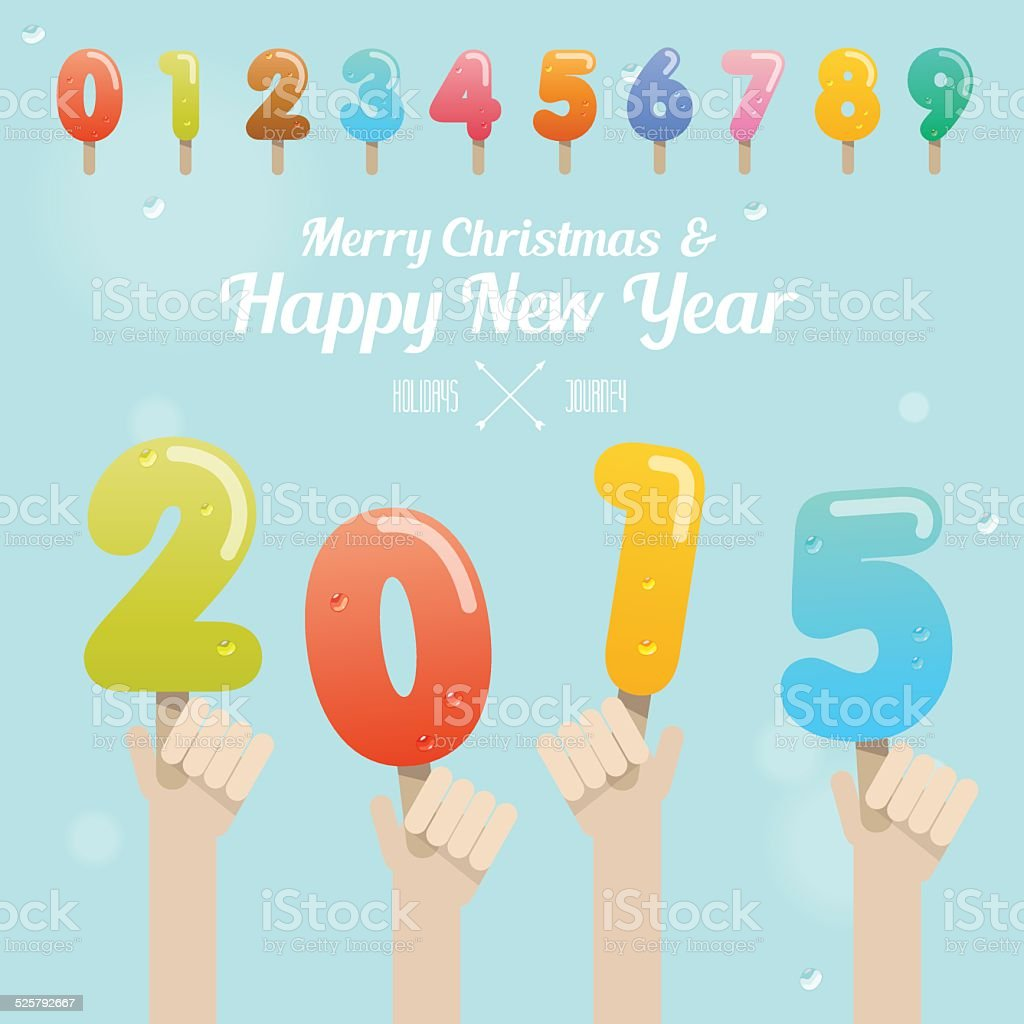 Ice Cream Number On Happy New Year 2015 Concept Stock Vector Art
