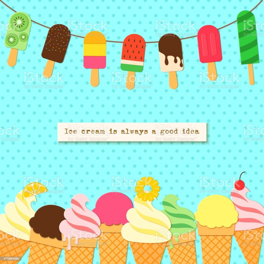 Ice Cream On Rope And Border In Craft Style Tasty Bright Icecream