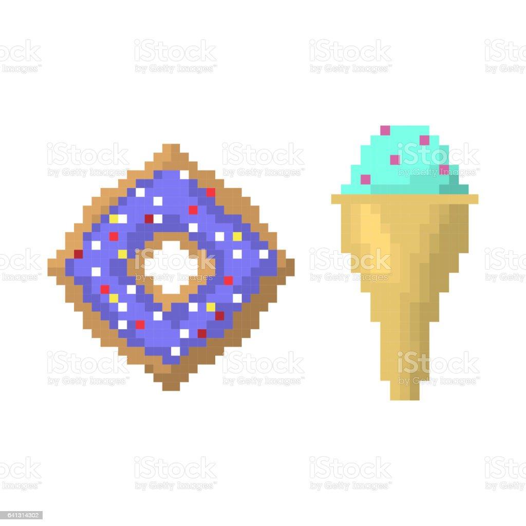 Crème Glacée Sur Le Bâton Et Bagel Style Dillustration