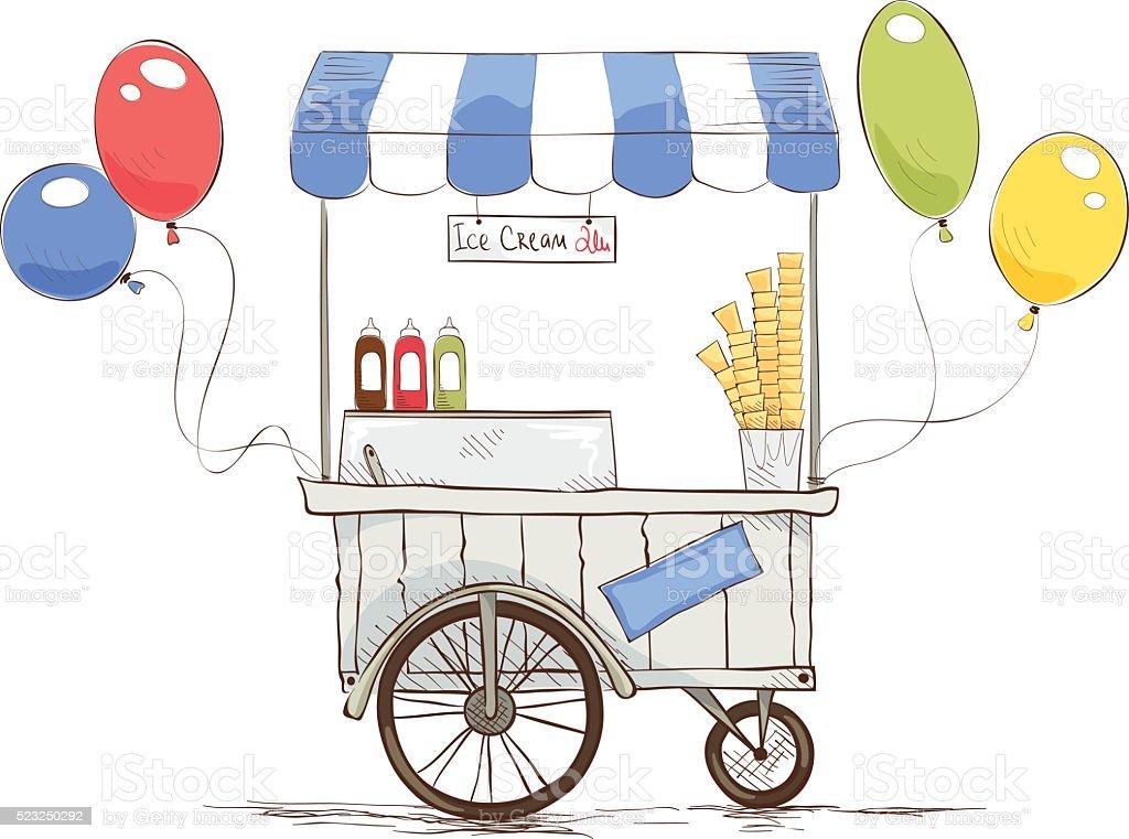 Ice cream on wheels vector art illustration