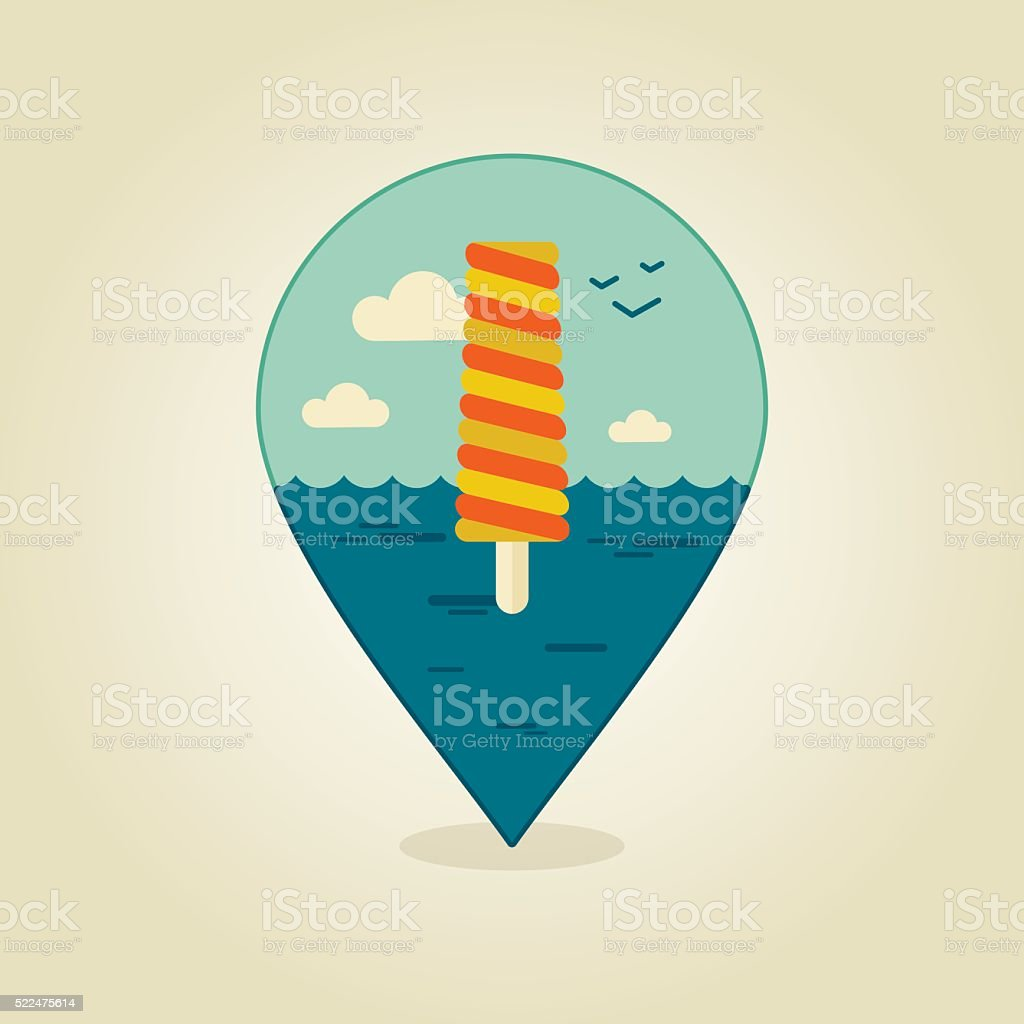 Ice Cream Pin Map Icon Summer Beach Sun Sea vektorgrafik och