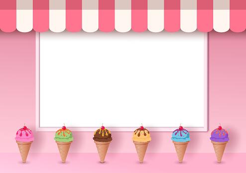 ice cream pink cafe