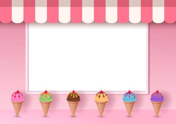 stockillustraties, clipart, cartoons en iconen met ijs roze café - vanille roomijs