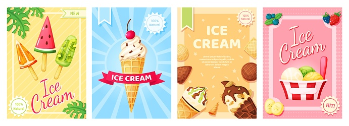 Ice cream poster. Cold summer desserts promotional banner. Flyer template with vanilla, chocolate sundae, fruit ice, popsicle for shop, cafe menu, restaurant vector set